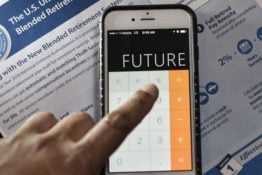 "Calculator app on phone reads ""FUTURE"""