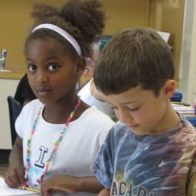2014 picture of two children in class, Hirut and Jonas