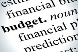 Close up of budget definition icon
