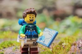 mini Lego hiker with map