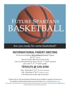 Future Spartans Basketball flyer for November tryouts