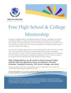 Free high school & college mentoring from Ivy League Students