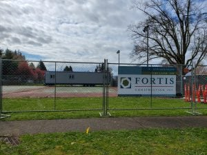 Lincoln tennis court construction