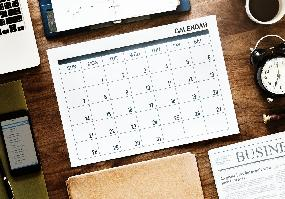 Close up of calendar with date circled
