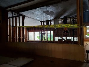 Garfield Restrooms near front office demolished and ready to be rebuilt